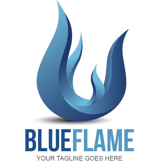 Blue Flame Logo Design