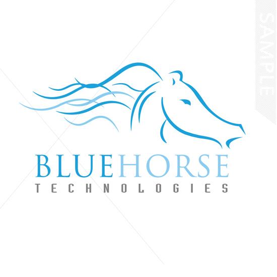 Blue Horse Logo Design