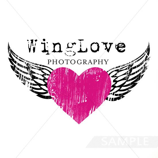 wing love heart logo design
